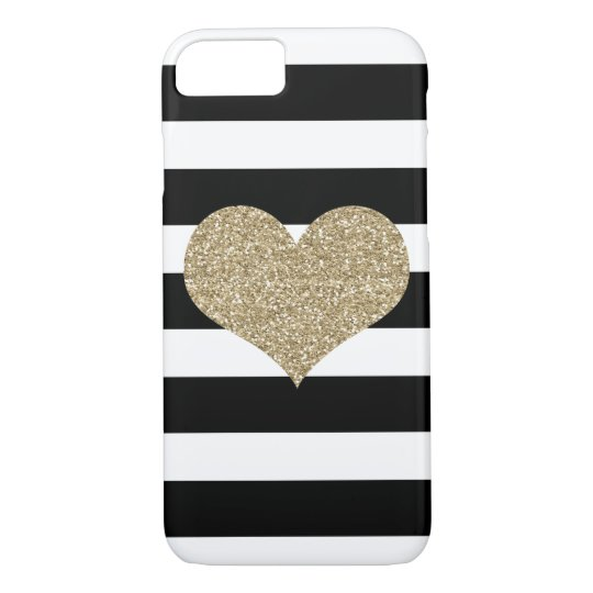 Gold Glam Heart Black/White Stripe iPhone 7 Case