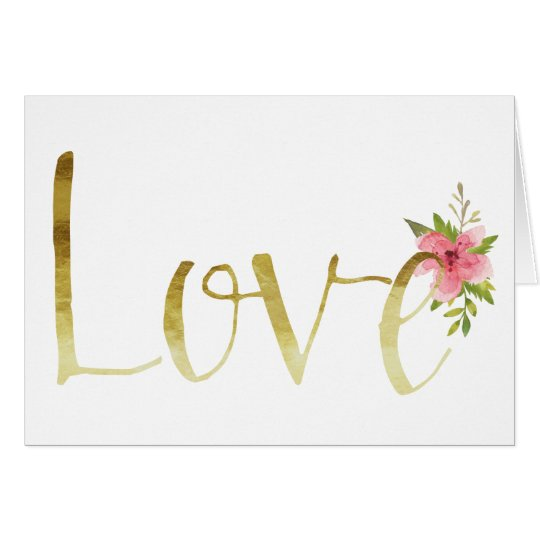 Gold Glam Love with Pink Watercolor Flower Card
