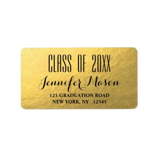 Gold Glam Modern Class of Graduation Address Label