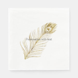 Gold Glam Peacock Feather Disposable Serviettes