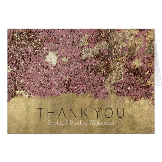 Gold Glam Pink Rose Confetti Thank You Card