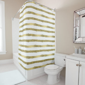Gold Glam Stripes Shower Curtain