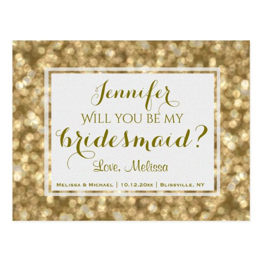 Gold Glam | Will You Be My Bridesmaid? Postcard