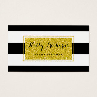 Gold Glamor Black White Stripes Business Card