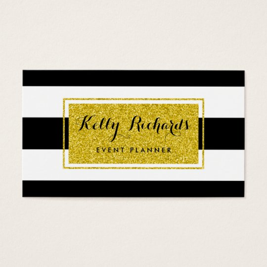 Gold Glamour Black White Stripes Business Card