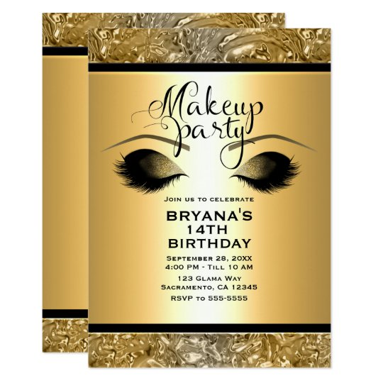 Gold Glamour Girls Makeup Eyelashes Party Event Card