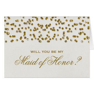 Gold Glamour Glitter Confetti Be My Maid of Honor Note Card