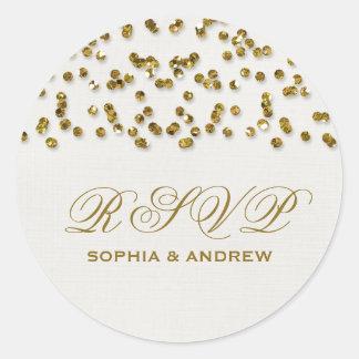 Gold Glamour Glitter Confetti RSVP Round Sticker