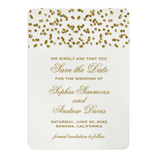 Gold Glamour Glitter Confetti Save the Date Card