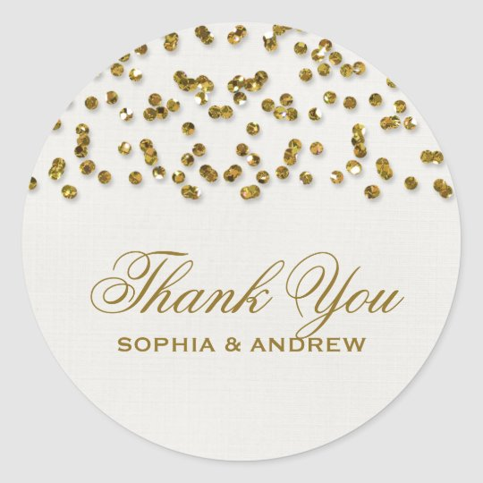 Gold Glamour Glitter Confetti Thank You Sticker