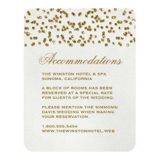 Gold Glamour Glitter Confetti Wedding Insert Card 11 Cm X 14 Cm Invitation Card