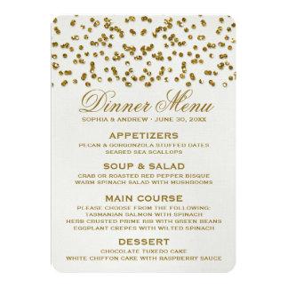 Gold Glamour Glitter Confetti Wedding Menu Card