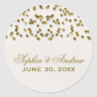 Gold Glamour Glitter Confetti Wedding Sticker