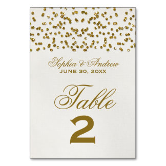 Gold Glamour Glitter Confetti Wedding Table Number Table Card