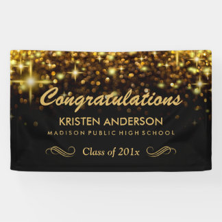 Gold Glamour Glitter Sparkles Graduation Party Banner