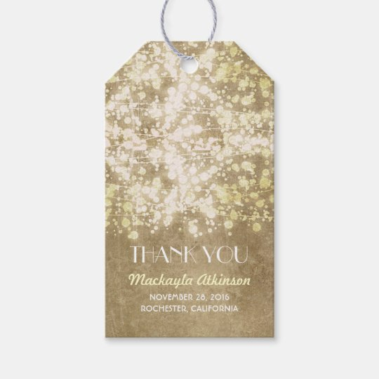 Gold Glamour String Lights Wedding Gift Tags