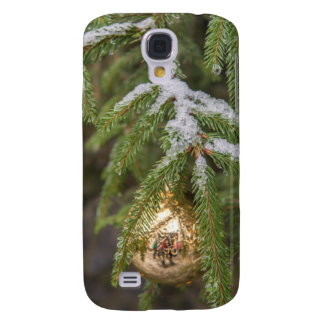 Gold Glass Christmas Ornament On Evergreen Tree Galaxy S4 Case