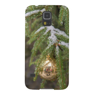 Gold Glass Christmas Ornament On Evergreen Tree Galaxy S5 Cover
