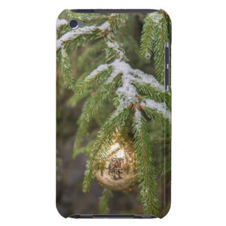 Gold Glass Christmas Ornament On Evergreen Tree iPod Touch Cover