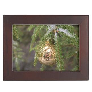 Gold Glass Christmas Ornament On Evergreen Tree Keepsake Box