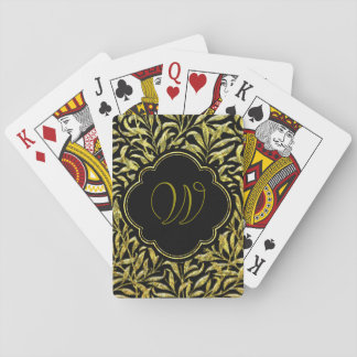 Gold Glass Ferns Monogram Playing Cards
