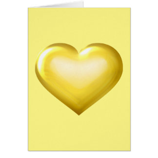 Gold glass heart - blank inside greeting card