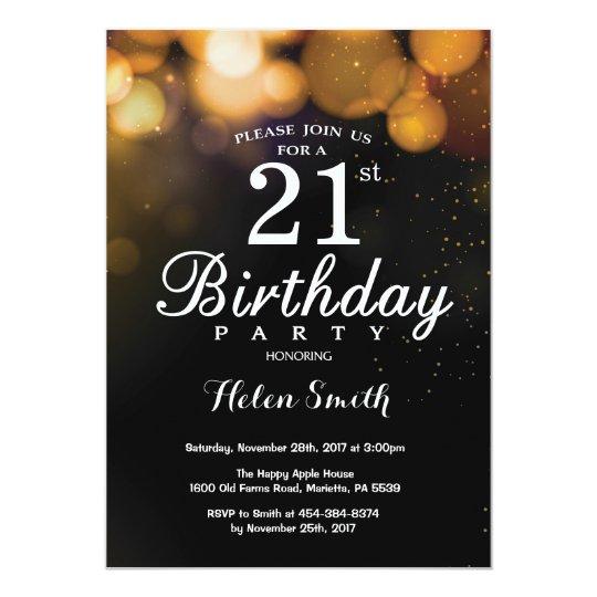 Gold Glitter 21st Birthday Invitation Card