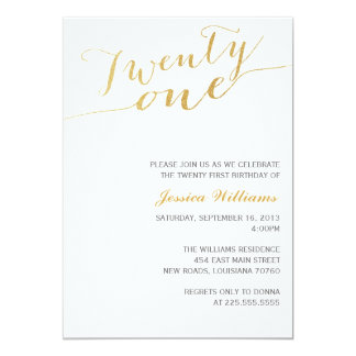 Gold Glitter 21st Birthday Party 13 Cm X 18 Cm Invitation Card