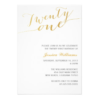 Gold Glitter 21st Birthday Party Custom Invitations