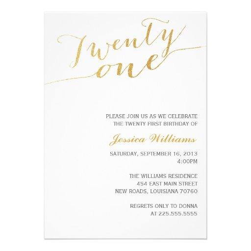 Gold Glitter 21st Birthday Party Custom Invitations
