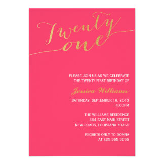 Gold Glitter 21st Birthday Party Invitations