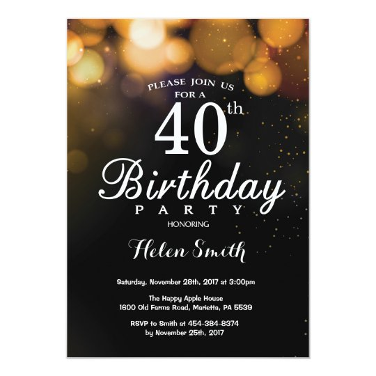 Gold Glitter 40th Birthday Invitation Card
