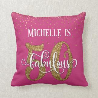 Gold Glitter 50 & Fabulous Birthday on Hot Pink Cushion
