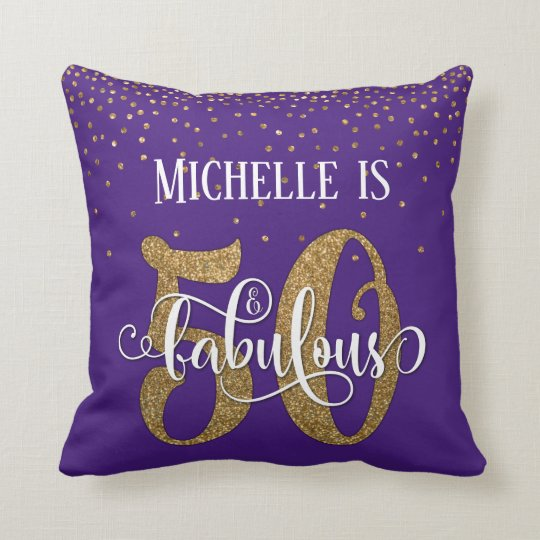 Gold Glitter 50 & Fabulous Birthday on Purple Cushion