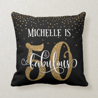 Gold Glitter 50 & Fabulous Typography Birthday Cushion