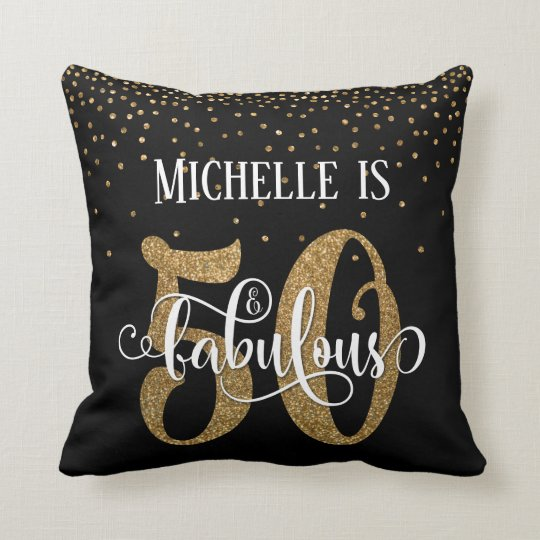 Gold Glitter 50 & Fabulous Typography Birthday Cushion