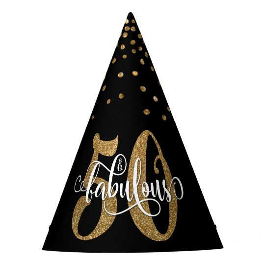 Gold Glitter 50 & Fabulous Typography Birthday Party