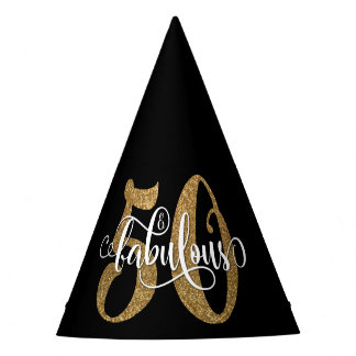 Gold Glitter 50 & Fabulous Typography on Black Party Hat