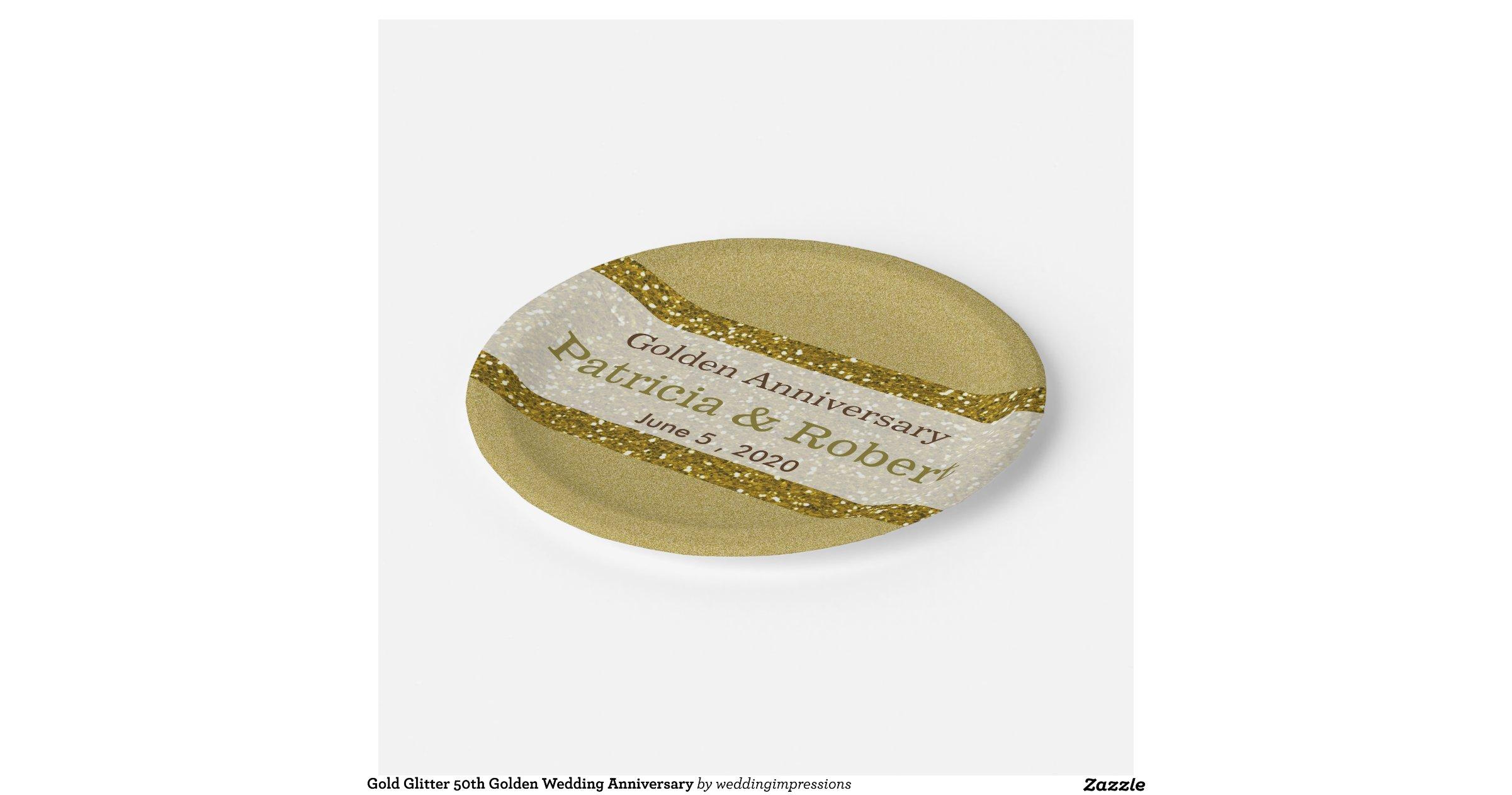 Gold Glitter 50th Golden Wedding Anniversary 7 Inch Paper Plate Zazzle