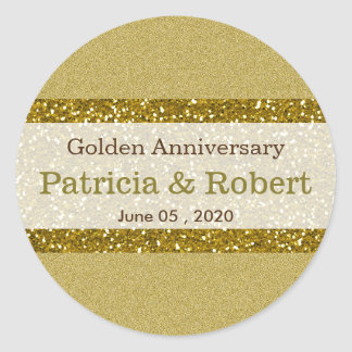 Gold Glitter 50th Golden Wedding Anniversary Round Sticker