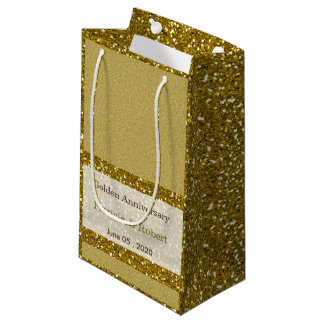 Gold Glitter 50th Golden Wedding Anniversary Small Gift Bag