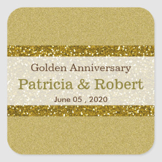 Gold Glitter 50th Golden Wedding Anniversary Square Sticker