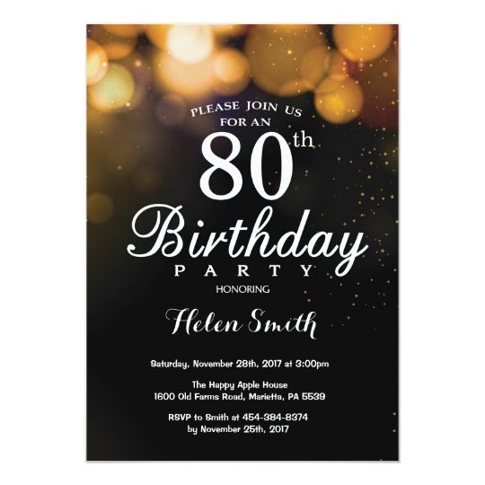 Gold Glitter 80th Birthday Invitation Card