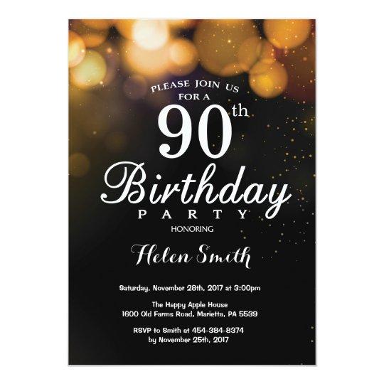 Gold Glitter 90th Birthday Invitation Card