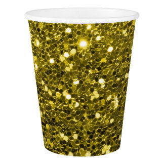 Gold Glitter All Over Party Print Paper Cup