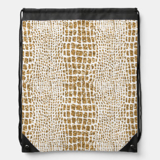 Gold Glitter Alligator Print Drawstring Bag