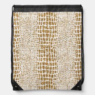 Gold Glitter Alligator Print Drawstring Bag