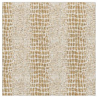Gold Glitter Alligator Print Fabric