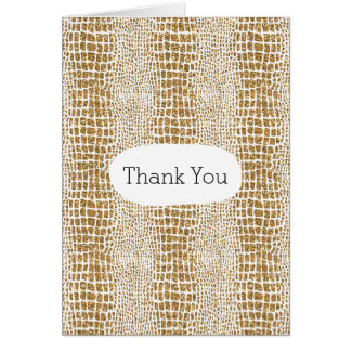 Gold Glitter Alligator Print Thank You Card