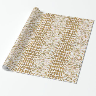 Gold Glitter Alligator Print Wrapping Paper